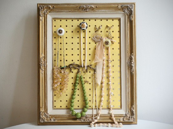 50 fun ways to hang your jewelry broke healthy 18 peg board in a frame solutioingenieria Image collections