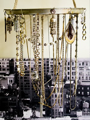 50 fun ways to hang your jewelry broke healthy 21 tray hung like a chandelier aloadofball Gallery