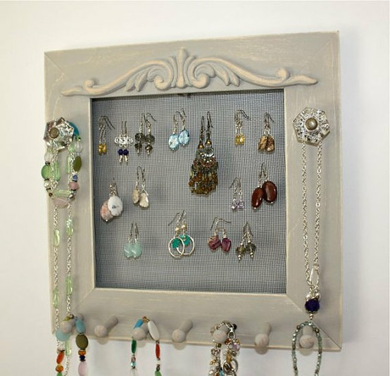 jewelry frame holder soft grey