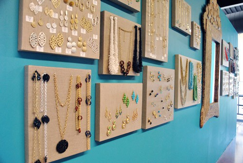hang jewelry on canvases