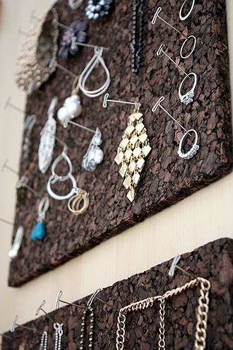 hang jewelry on cork