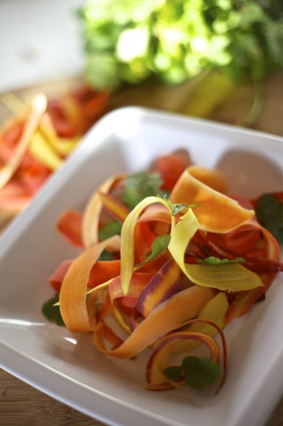 Shaved Rainbow Carrot Salad with Cilantro, Vinaigrette & Queso Fresco