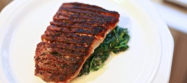 Sauteed Skin-On Herb Salmon over Creamed Spinach - $2.95