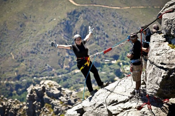 Me in South Africa, belaying off of a mountain, 2012
