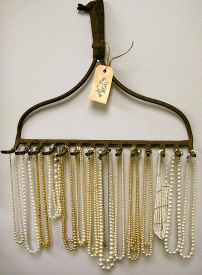 hang jewelry on a rake